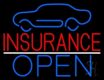Car Logo Red Insurance Open LED Neon Sign