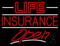Red Life Insurance Open LED Neon Sign