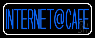 Blue Internet Cafe With White Border LED Neon Sign
