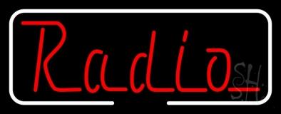 Radio Open With White Border LED Neon Sign