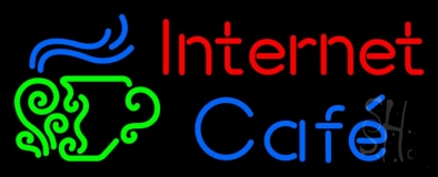 Red Internet Blue Cafe With Logo LED Neon Sign