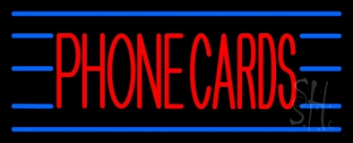 Red Phone Cards Blue Lines LED Neon Sign