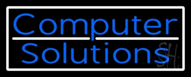Computer Solutions With White Border LED Neon Sign