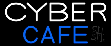 White Cyber Blue Cafe LED Neon Sign
