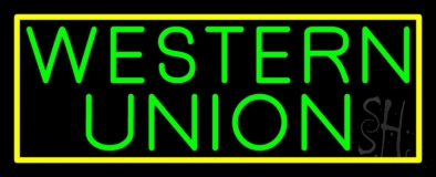 Green Western Union With Green Border LED Neon Sign