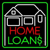 Home Loans With Home Logo And Green Border LED Neon Sign