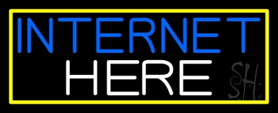 Internet Here With Yellow Border LED Neon Sign