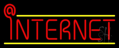 Red Internet Yellow Lines LED Neon Sign