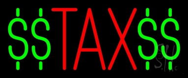 Red Tax With Dollar Logo LED Neon Sign