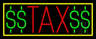 Red Tax With Dollar Logo With Yellow Border LED Neon Sign