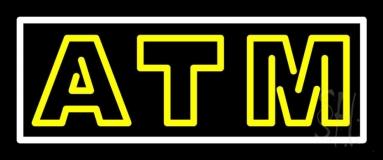 Yellow Atm White Border LED Neon Sign