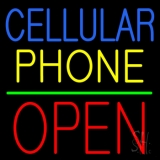 Cellular Phone Block Open Green Line LED Neon Sign