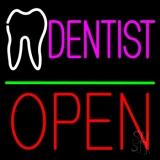 Dentist Logo Block Open Green Line LED Neon Sign