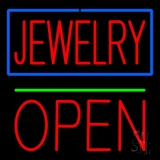 Jewelry Green Line Open Block LED Neon Sign