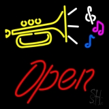 Yellow Trumpet Logo Red Open LED Neon Sign