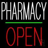 Pharmacy Block Open Green Line LED Neon Sign