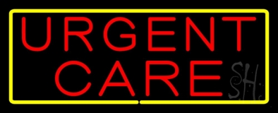 Urgent Care Rectangle Yellow LED Neon Sign