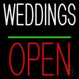 Weddings Block Open Green Line LED Neon Sign