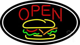 Burger Open Oval LED Neon Sign