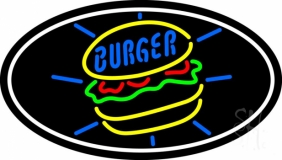 Burger Oval LED Neon Sign
