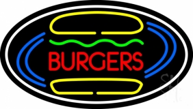 Burgers Oval LED Neon Sign