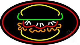 Burger With Vegie Oval LED Neon Sign