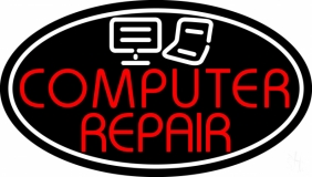 Computer Repair Oval With Laptop Pc LED Neon Sign
