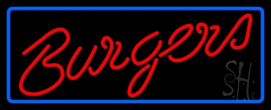 Cursive Burgers With Border LED Neon Sign