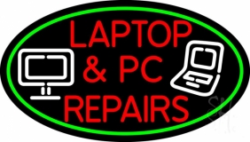 Laptop And Pc Repairs Oval Border LED Neon Sign
