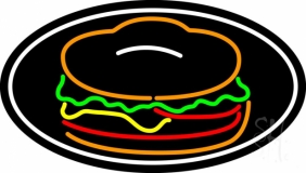 Red Green Burger Logo Oval LED Neon Sign