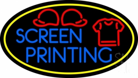 Screen Printing Yellow Oval LED Neon Sign