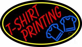 Tshirt Printing Yellow Oval LED Neon Sign