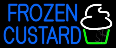 Blue Frozen Custard With Logo 2 LED Neon Sign