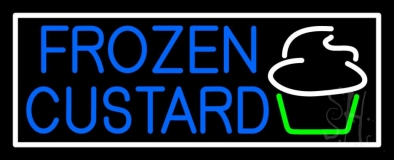 Blue Frozen Custard With Logo 3 LED Neon Sign