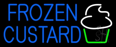 Blue Frozen Custard With Logo LED Neon Sign