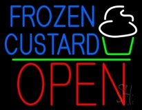 Blue Frozen Custard With Logo Open 1 LED Neon Sign