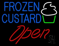 Blue Frozen Custard With Logo Open 2 LED Neon Sign