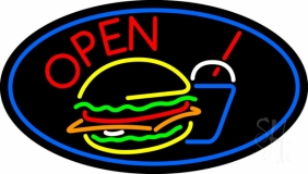 Burger And Drink Open Oval LED Neon Sign