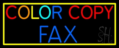 Color Copy Fax With Border LED Neon Sign