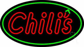 Double Stroke Red Chilis Oval LED Neon Sign