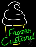 Green Frozen Custard With Logo LED Neon Sign