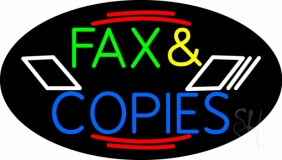 Multicolored Fax And Copies LED Neon Sign