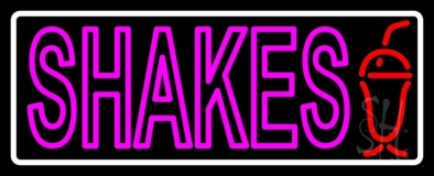Pink Double Stroke Shakes With Border LED Neon Sign