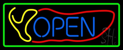 Red Chili Open With Border LED Neon Sign