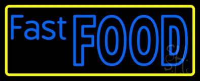 Blue Fast Food Yellow Border LED Neon Sign