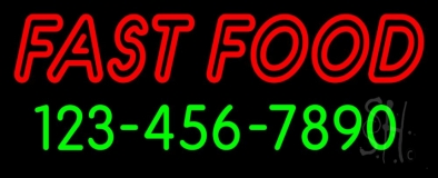 Double Stroke Fast Food With Phone Number LED Neon Sign