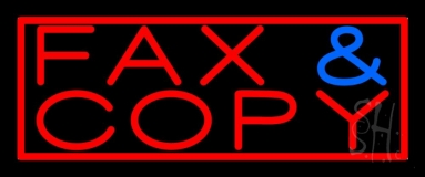 Fax Copy With Border 3 LED Neon Sign