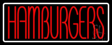Red Humburgers White Border LED Neon Sign