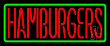 Red Humburgers Green Border LED Neon Sign
