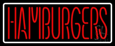 Humburgers with White Border LED Neon Sign